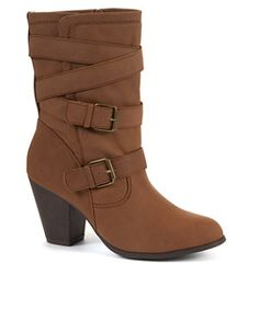 Tan (Stone ) Tan Mid Length Buckle Boots | 268850418 | New Look