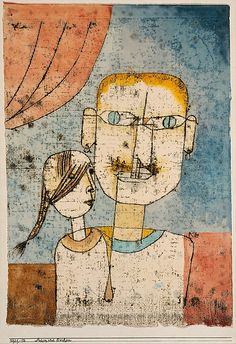 Paul Klee (1879-1940), Adam und Evchen (Adam and Little Eve), 1921 (12). Watercolour and transferred printing ink on paper mounted on cardboard. 42.2cm H x 29.8cm W. (The Metropolitan Museum of Art, New York)