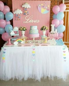 Super baby shower ideas for girs themes butterfly pink birthday parties ideas Shower Party, Baby Shower Parties, Baby Shower Themes, Baby Shower Decorations, Shower Ideas, Cloud Baby Shower Theme, Pink Birthday, Rainbow Birthday, Rainbow Baby