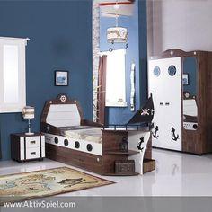 Ein richtig abenteuerliches Kinderzimmer für Jungs und Mädchen. Gerade Kinder lieben das Abtauchen in eine Traumwelt - hallo Piratenschiff!