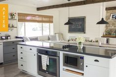 When Jenna moved into her house in the California countryside, she had some dated details to contend with. Just off the entry to her home was a dining room, complete with recessed bar, and a kitchen that was closed off except for a pass-through to the dining room. It wasn't ideal for entertaining or for Jenna's aesthetic. After five months of renovating, you'll barely recognize this transformed kitchen and dining area. Take a look!