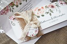 vintage einladung mit kraftpapier banderole und süßem anhänger und, Einladungen