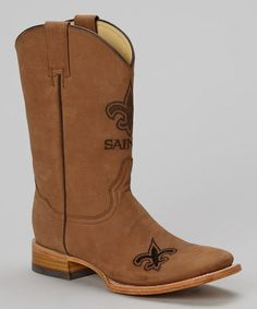 Take a look at this New Orleans Saints Square-Toe Cowboy Boot - Men by Old Pro Leather Goods Co. on #zulily today!