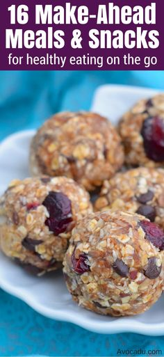 These make ahead meals and snacks make for great healthy breakfast, lunch, and dinner when you're in a hurry or on the go! They're great if you're on a clean eating diet or weightloss program. These healthy recipes are also super easy to make! http://avocadu.com/16-make-ahead-meals-and-snacks-for-healthy-eating-on-the-go/