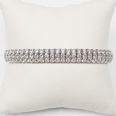 Triple Row Prong Set CZ Rounds Bracelet, 18.5 Ct TW