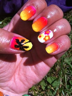 Tropical sunset ombre nailart