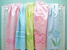vintage smocked gingham half aprons found at InWithTheOld on Etsy.
