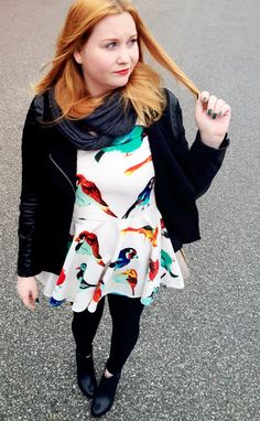 Bird dress, pleather panel jacket, scarf and tights. Bell Sleeves, Bell Sleeve Top, Bird Dress, Fall 2015, Autumn Fashion, Tights, Jackets, Tops, Dresses