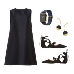 New York Echo the business-centric vibes of Manhattan with an Apple watch and sleek flats.  Navy A-Line Dress, Harvey Faircloth $595 Watch Edition, Apple $15000 Gold-Plated Resin Earrings, Marni $380 Kiss Tassel Shoes, Topshop $100  What To Wear To Fashion Week: 1 Dress, 4 Ways   The Zoe Report