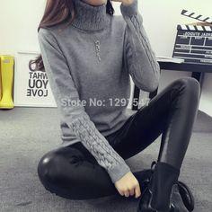 Hot 2016 Mùa Thu Mùa Đông Phụ Nữ Áo Len Chui Đầu và Thời Trang cao cổ Áo Len Nữ xoắn dày mỏng áo thun áo len