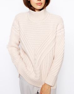 ASOS Cable Jumper With High Neck - Great option to pair with tailored skirt or trousers. http://asos.to/1vScHdo