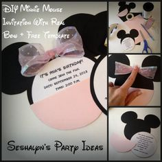 DIY Minnie Mouse Invitation With Real Bow + Free Minnie Ears Template Minnie Mouse Birthday Invitations, Minnie Mouse Theme, Minnie Mouse Baby Shower, Mickey Party, Mickey Mouse Birthday, Baby Birthday, Party Invitations, Invitation Ideas, Birthday Ideas