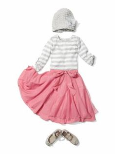 Tiny Dancer: textured beanie, lace stripe pocket T, bow dance skirt - crisscross ballet flats - This is perfect for my youngest :)