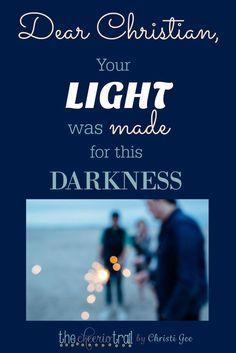 Our world is overflowing with violence, evil, and darkness. It's the perfect time for Christians to shine their light. The stage has been set for Christ's followers to step up and show we choose LOVE and LIGHT and LIFE, against the backdrop of despair and darkness and death. Find hope, encouragement, and inspiration to keep shining from Scripture and biblical wisdom.
