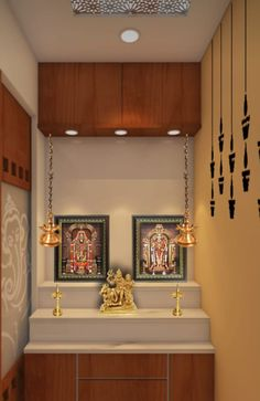By paige interiors Modern Tv Cabinet, Living Room Partition, Room Partition Designs, Kitchen Room Design, Home Room Design, Altar, Temple Room, Home Temple, Pooja Room Door Design