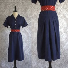 1940s Navy Blue Cotton Dress with Amazing Back Pleats! $68.00