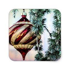 Old Fashioned Christmas Square Sticker - christmas stickers xmas eve custom holiday merry christmas