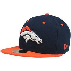 57a3bb40 New Era Denver Broncos Two-Tone 59FIFTY Fitted Hat - Navy Blue/Orange  59fifty