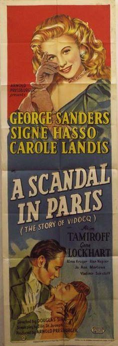 A Scandal in Paris. Douglas Sirk, 1946, US (European actors and director). Premier poster 1946, UK. 150x50cm door panel poster.