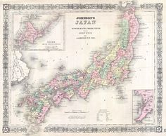 This is Johnson and Ward's 1864 map of Japan. Compiled by A. J. Johnson from the map of Siebold with additions from the surveys and reconnaissance of the U.S. Japan expedition, this map covers the Japanese Islands from Kiusiu north to Yesso (Hokkaido). An inset map in the upper right focuses on Hokkaido or Yesso and the Japanese Kuriles. Another inset in the lower right quadrant details the Bay of Nagasaki. Printed area measures 16.5 x 14 inches.