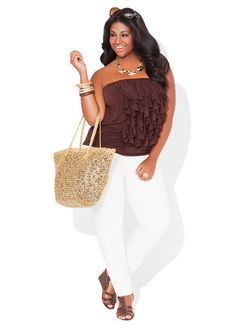 Ashley Stewart Ruffled Tube Top, Double Cream Jeggings and Gold Straw Tote.