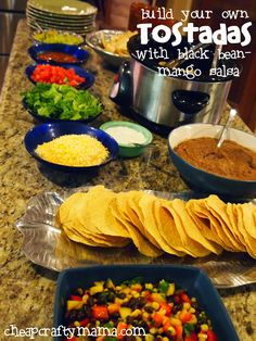 Build Your Own Tostadas with Black Bean Mango Salad from Cheap Crafty Mama Easy Cooking, Cooking Recipes, Healthy Recipes, Dinner Party Menu, Mango Salad, Mexican Food Recipes, Ethnic Recipes, Tostadas, Tacos