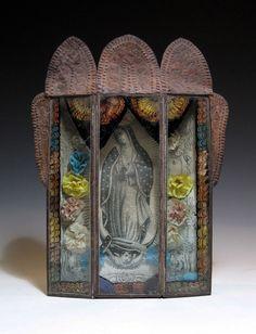La Virgen de Guadalupe~Reverse Painted Glass Nicho - Mexico