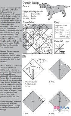 拉布拉多犬的折纸图谱教程图片步骤1 Paper Toys, Paper Crafts, Origami Diagrams, Diagram Design, Origami Videos, Origami Paper Art, Paper Engineering, Kirigami, Scrap