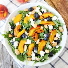 Grilled Peach, Blueberry, and Goat Cheese Arugula Salad | http://homemaderecipes.com/cooking-102/healthy-recipes/11-best-salad-recipes-healthy/