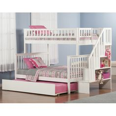 Atlantic Furniture Woodland Twin Over Full Bunk Bed with Trundle & Stairs & Reviews | Wayfair