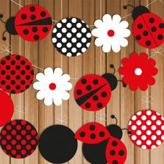 Ladybug Printable Party Banner & Hanging Decorations, Instant Download, Polka Dots, DIY,Baby Shower