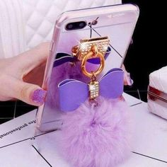 Fashion Bling Diamond Mirror TPU Bowknot Phone Cases For iphone 7 6 Plus Cover Cute DIY Fluffy Ball electroplate Case Fundas Iphone 5s, Coque Iphone, Iphone Phone Cases, Iphone 7 Plus Cases, Phone Cover, Apple Iphone, Fluffy Phone Cases, Bling Phone Cases, Cute Cases