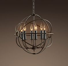 "Entrance: Foucault's Iron Orb Chandelier (Small)   27½""L chain (included)  18""L x 19""W x 21""H"
