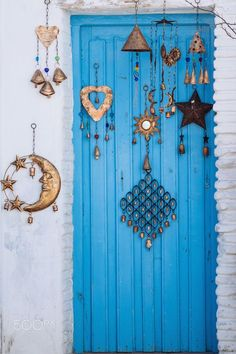 Blue wood door from Mediterranean architecture.