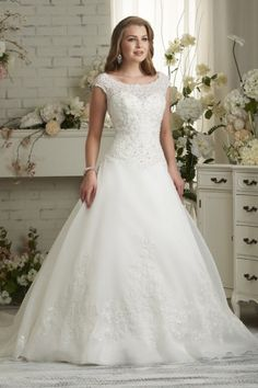 Beautiful A-line Scoop Court Train Ivory Organza Fabric UK Wedding Dresses 2015 with Beading Style yw115100703