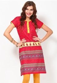 Short Sleeve Printed Red Long Kurta