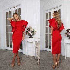 Red Neoprene Dress Midi Zoe <3 Perfect for Valentine's Day <3