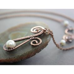 Necklace > Wire wrapped Paisley copper necklace with wrapped white ...