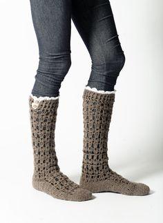 Crochet Long Socks,Lacy Crochet socks,Cocoa Crochet Knee Socks,Lace Ruffle,Crochet Lace Trim, and Wooden Buttons, , Accessories