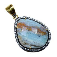 Silvestoo India Peru Opal & Cubic Zircon Gemstone 925 Sterling Silver Vermail Pendant PG-100706   https://www.amazon.co.uk/dp/B06XXGZYS9