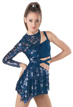 Weissman™ | Asymmetrical Sequin Lace Biketard - secrets - one republic