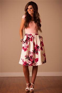 Pink Floral Skirt by Mikarose, Vintage Dress, Church Dresses, dresses for church, modest bridesmaids dresses, trendy modest, modest office clothing, affordable boutique dresses, cute modest dresses, mikarose, modest skirts, pink dress