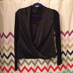 V neck long sleeve top with overlay Mock wrap front overlay. Picture 3 is the same top, just a different color Tops Blouses