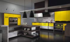 Cozinha Amarela e Preto