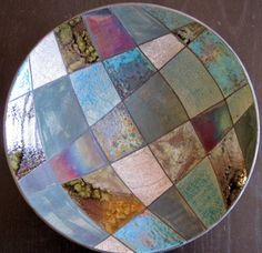 raku fired patchwork bowl
