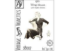 1930's Wrap blouse with raglan sleeves B35 PDF | Etsy