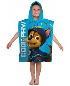 This Paw Patrol Spy Hooded Towel Poncho features Chase and Marshall and is made from 100% cotton.