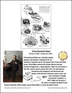 November Worksheets and Coloring Pages (2): Alfred Bernhard Nobel Coloring Page