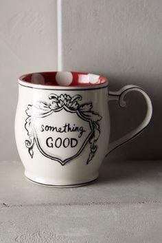Anthropologie Crowned Leaf Mug
