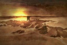 'Mondaufgang am Meer. Frei nach Caspar David Friedrich.' von Marie Luise Strohmenger bei artflakes.com als Poster oder Kunstdruck $19.41